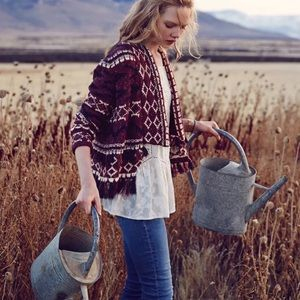 Moth Fringe Veras Red Cardigan Sweater XS